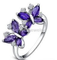 Free shipping Natural amethyst ring  925 silver plated 18k white gold ring For women or girls purple gems Butterfly rings