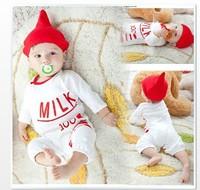 HB162 Two use baby set (2PC),New baby romper or sleepwear bag+cap,boy girl bodysuits,feeder romper/Wholesael Retail Honey Baby