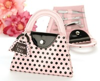 Wholesale 10pcs /lot  Manicure set  Mini Bag Cute Dot  Pink Purse Wedding Favors Party Supplies