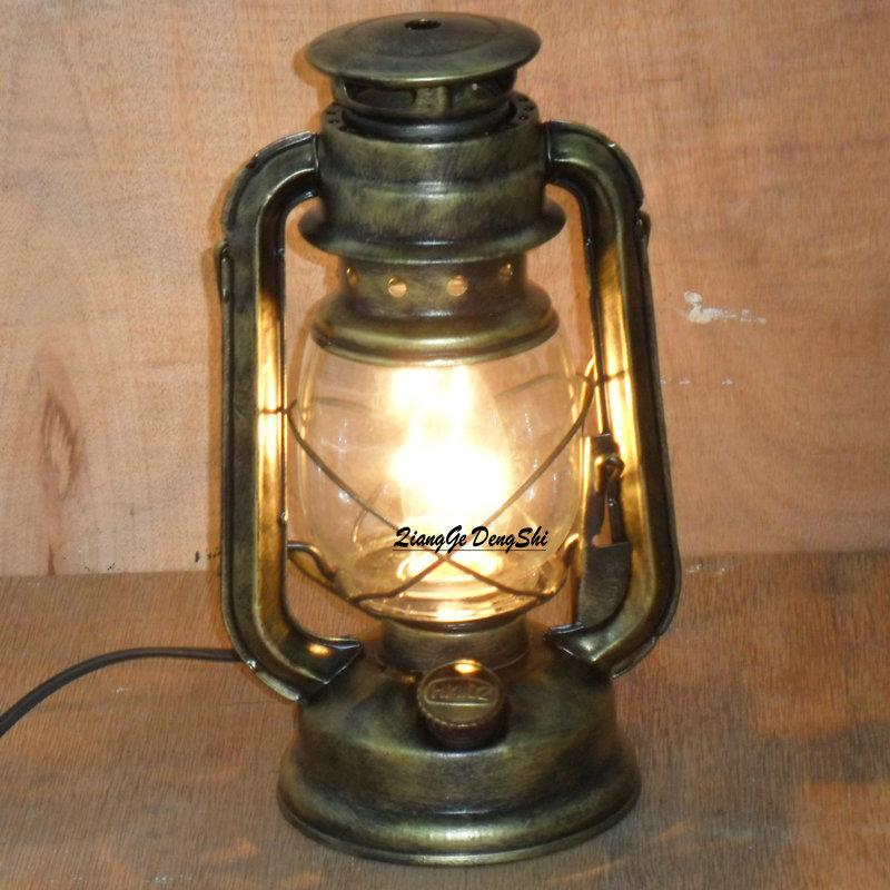 style bedside table lamp fashion antique lantern kerosene lamp table. Black Bedroom Furniture Sets. Home Design Ideas