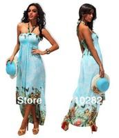 free shipping  NEW fashion women's maxi dress graceful printed beach dress Bohemian dress X4185