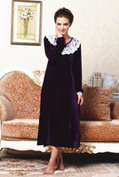 Autumn And Winter Velvet Lace Noble Vintage Princess Ultra Long Nightgown Female Household To Take Free Shipping