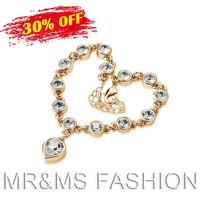 Free Shipping Hot Sales New Fashion Design Top Grade Austrian Crystal Rhinestone Chain Pendant Bracelet For Women Best Gift 4417