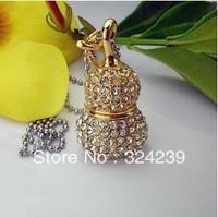 Wholesale golden diamond crystal USB flash drive 2.0/4 gb / 8 gb / 16 gb / 32 gb/upscale gift memory stick