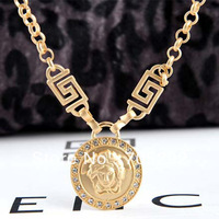 New Iced Out Celebrity Style Medusa Face Bling Pendants Necklace Gold Plating Free Shipping