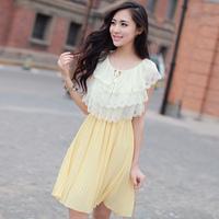Free shipping 2014 New Fashion Women Dress Casual Plus Size Summer Chiffon Three Colors Green Yellow Pink Dresses  High Quality
