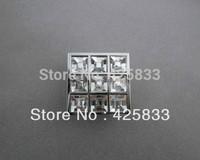 8pcs Square Crystal & Zinc Alloy Furniture Glass Cabinet Knobs Handles Door Knob Dressers Drawer Pulls