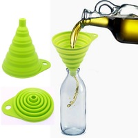 Easy take in Collapsible Silicone foldable funnel oil and wine leak pop-up hopper filler tundish filling funnel free shipping