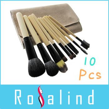 Rosalind  10 Pcs Makeup Brushes white snake leather bag 10pcs yellow makeup brush set kit makeup