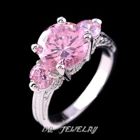 Sz6/7/8/9  Elegant  jewelry  Pink sapphire withe cz Woman's 14KT white Gold Filled Ring Gift 1pc