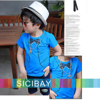 New Arrivals Kids Baby Tshirts Summer Fashion Short Sleeve Boy Tshirt Tops,Children Bow Tie Tees,Free Shipping  K0120