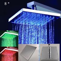 Hydropowered 8 Inch Rain Shower Head,LED Ceiling Shower Head,Head Shower