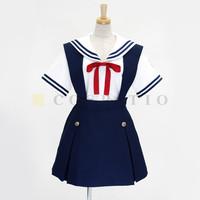 Freeshipping Clannad School Uniform Girls Braces Skirt Uniform Preppy Style Costume Sailor Suit Anime Cos Clothing