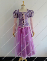 Free shipping Custom Cheap Rapunzel Princess dress Cosplay Costume from Tangled for Christmas party cartoon