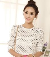 free shipping whole sales women short sleeve summer print polak dot blouse