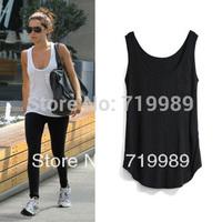 New fashion cotton long T-shirt women vest tops oversize fashion tanks & camis