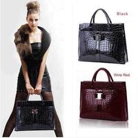 2013 popular Hot Sale Women Handbag Luxury OL Lady Crocodile Pattern Hobo Tote Shoulder Bag Black Red Rose Red leather Bag