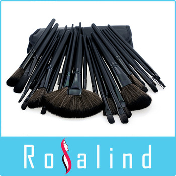Rosalind  New 2014 Professional 32 pcs Professional Cosmetic Makeup Brushes Set + Pure Black Leather Bag Makeup Tools