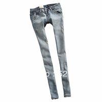 2013 women's light blue vintage hole butt-lifting low-waist slim skinny jeans pencil pants