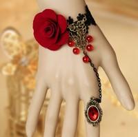 Vintage royal rose lace vintage bracelet elegant set red flower bracelets wedding jewelry for bride free shipping 0158