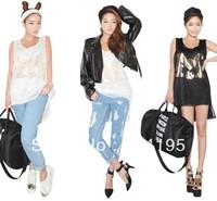 High Quality Free\Drop Shipping 2013 Summer New Fashion women's  fashion personality gauze irregular long design vest 6087mlcq