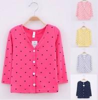 Retail 1 Pcs Children Outerwear Spring Jackets Cardigan Baby Girls Fashion Long Sleeve Sweater Dot Print Coat High CC0223