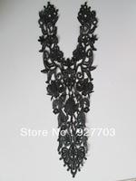 (CM269) 2 Pcs Black Venise Lace Sewing Neckline Costume Applique Craft
