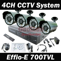 4CH Full D1 Kit CCTV DVR 4X Effio-E 700TVL Day  Night Waterproof Security Camera Surveillance Video System Home DIY CCTV systems