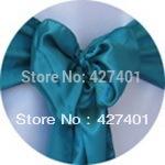 Hot Sale Teal Satin Chair Cover Sash / Satin Sash / Chair Sash For Wedding Event & Party Decoration