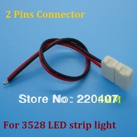 50pcs/lot 3528 Led strip connector 2pin connector with wire (Length 15cm)12V connector so convenient free shipping
