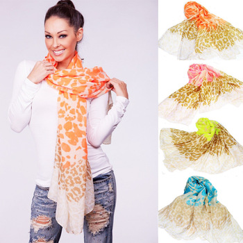 2013 Neon Leopard Print Summer Scarf Fashion Elegant Color Block Polyester Cotton Touch Pashmina Beach Shawl Designer Scarves