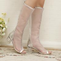 2014 New Hot Fashion vintage high-leg high-heeled  zipper sexy gauze platform open toe summer sandals women's boots
