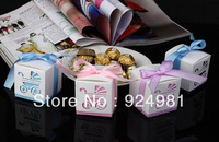 5 colour free shipping baby shower  50pcs ribbon Wedding favor paper box favour gift candy boxes Best candy box