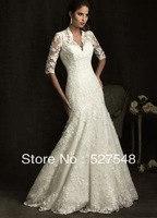 2013 Hote sale white/ivory V Neck wedding dress Bridal custom size 2-4-6-8-10-12-14-16++++++++++