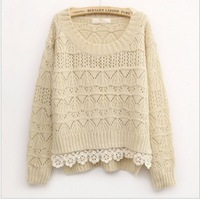 Free shipping 2014 New style spring/Winter Fashion Retro Women's clothing Sweet Lace Mori girl Hollow out crochet Sweater sale