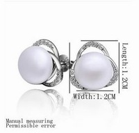 NEW Arrival!! Fashion Platinum Plated Simple Zircon Pearl Earring wedding Jewelry Earring Top Quality Free Shipping NPLE004