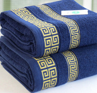 100% cotton plus size thickening bath towel male big towel 75 150 blue