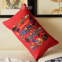 "Free Shipping 20"" Pop Cultrue Fish Pattern Retro Vintage Style Linen Decorative Waist Pillow Case Pillow Cover Cushion Cover"