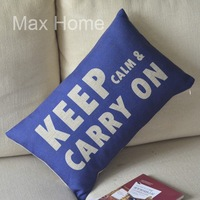 "Free Shipping 20"" Keep Calm And Carry On Retro Vintage Style Linen Decorative Waist Pillow Case Pillow Cover Cushion Cover"