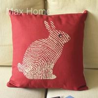 "Free Shipping 18"" Fingerprint Rabbit Red Retro Vintage Style Linen Decorative Pillow Case Pillow Cover Cushion Cover"