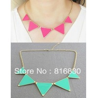 2013 Brand New Neon Candy Fluorescence Colored Triangle Statement Necklace Choker Design Women Jewelry Christmas Gift