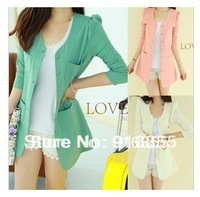 Free shipping 2013 womens jackets and coats tunics buttons candy color girls business suits large collars women's blazer