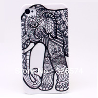 Free Shipping Retail Packaging Customization Elephant Hard Plastic Phone Back Case Cover For APPLE iPhone 4 4S