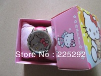 free & drop shipping 1pcs retail High Quality strap Hello Kitty Ladies sport Fashion Gift brand leather Wrist Watch+box