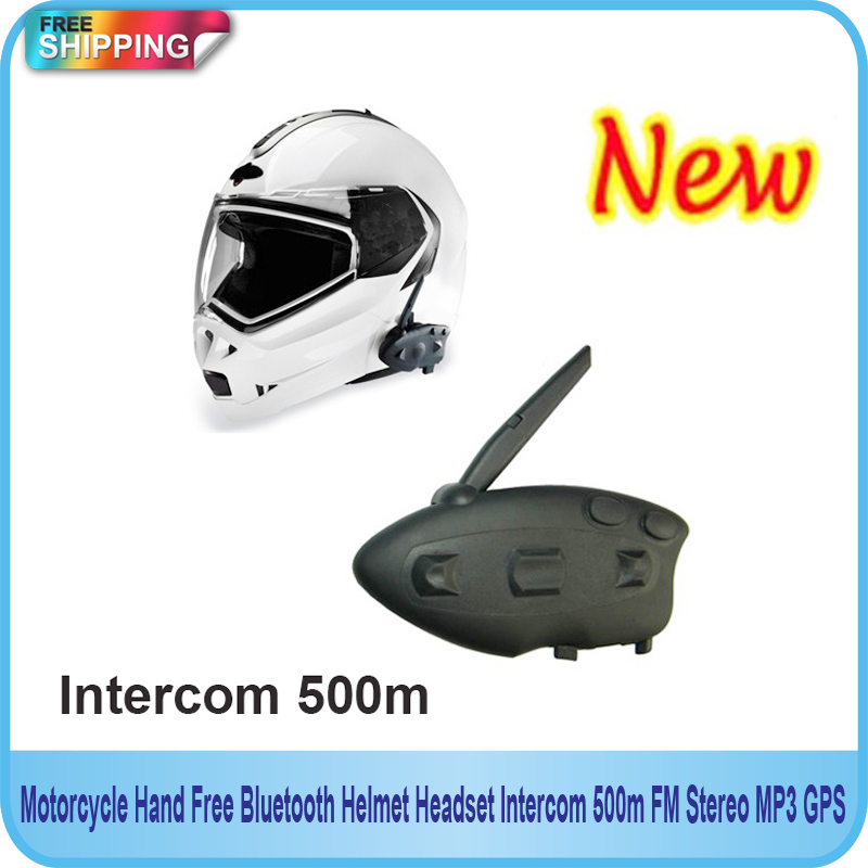 Free Shipping!!Motorcycle Hand Free Bluetooth Helmet Headset Intercom 500m FM Stereo MP3 GPS(China (Mainland))