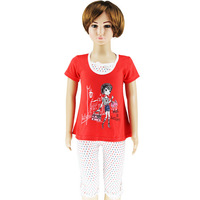 Teenage girls fashion 2013 summer girls set short sleeve t shirts red and dot leggings pants size 4-14 Free Shipping 0416k4