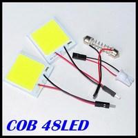 6w Cob Chip 48 Led Car Interior Light T10 Festoon Dome Adapter 12v,wholesale Vehicle Panel Free Shipping