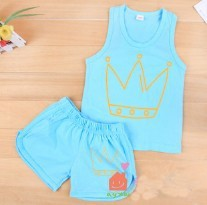 Free Shipping Summer new unisex leisure suit children T-shirt short pants two-piece vest Sleeveless vest clothing sets LNZ0013(China (Mainland))