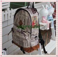 Fashion Korea Unisex New Design Newspaper Print Canvas Bag Girls& Boys Backpack School Bag
