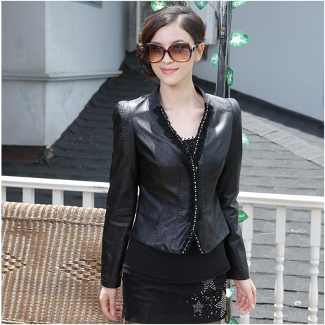 Free shipping!2013 hot sell bran fashion women's large size leather jacket women motorcycle large size jacket coat M-XXXL(China (Mainland))